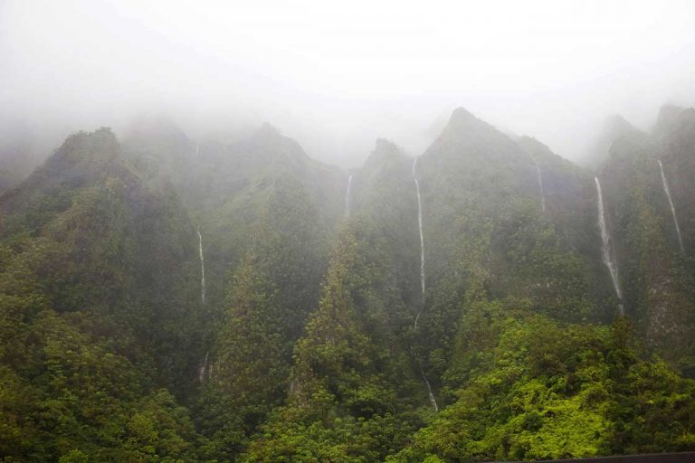 Waterfalls off of Oahu mountains