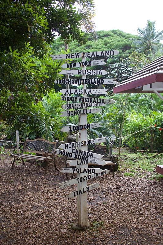 Tropical Farms Oahu world Milage sign