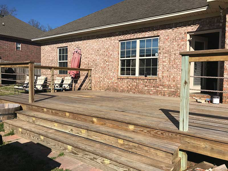 Faded new deck ready to be stained