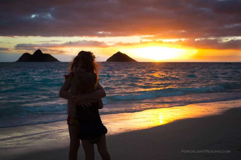 Sunrise over Lanikai with little kids