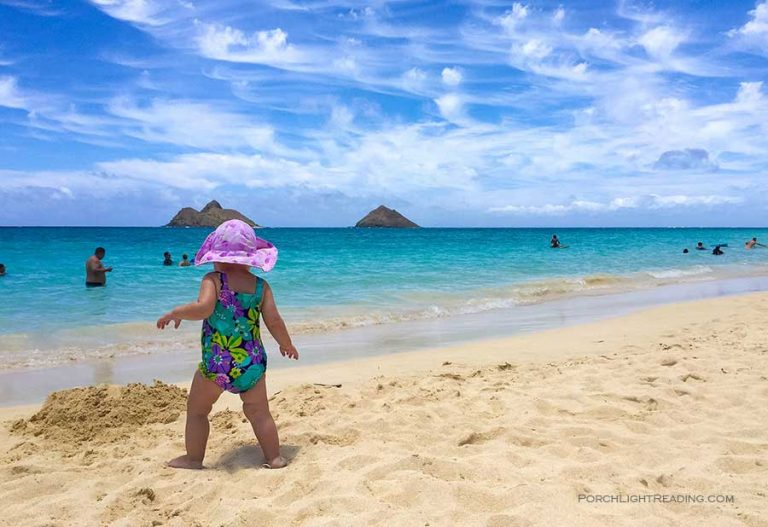 Kid on the beach in Hawaii