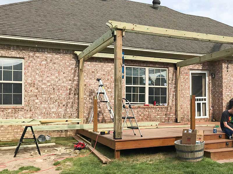 pergola cross sections in place