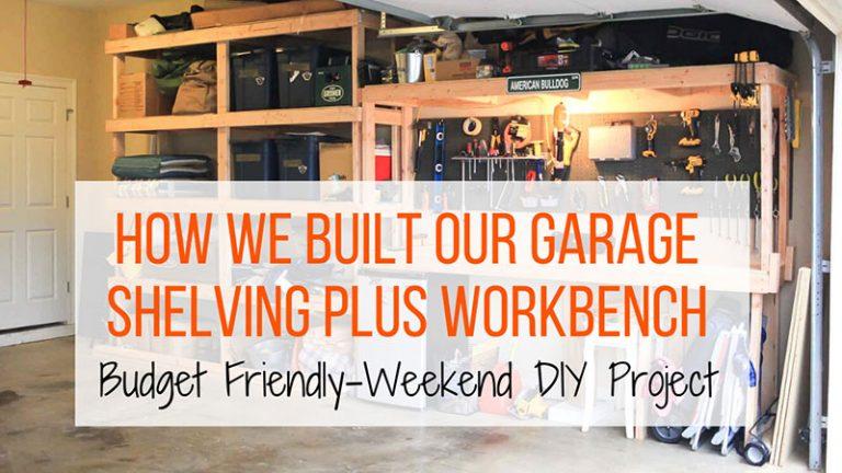 garage shelving and workbench DIY