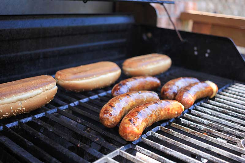 Beer brats on the grill