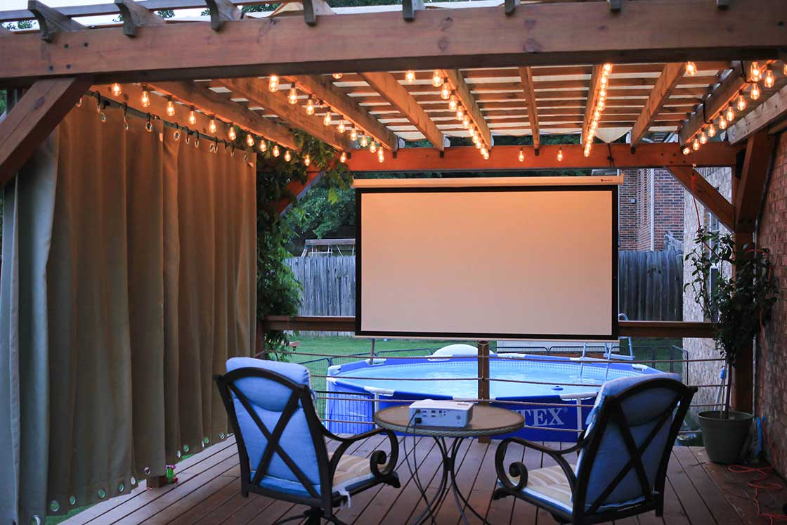 string lights with movie projector