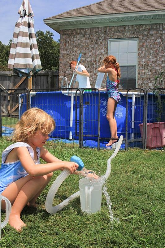 saving the clean water and putting it back into the pool