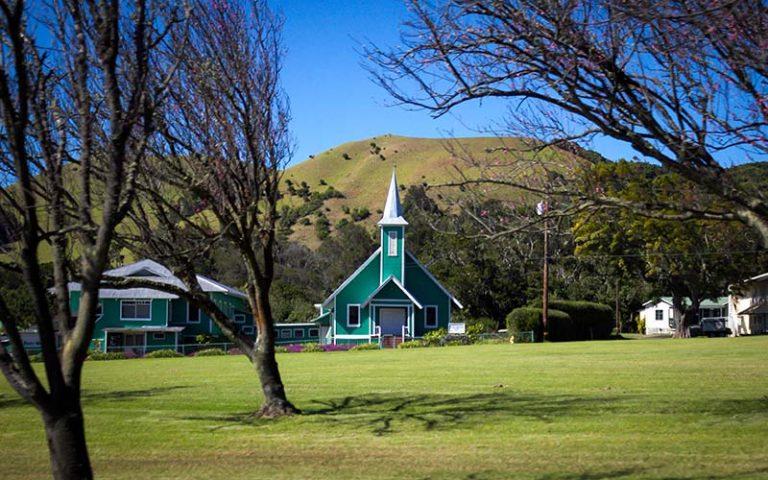 Little green church in the town of Waimea