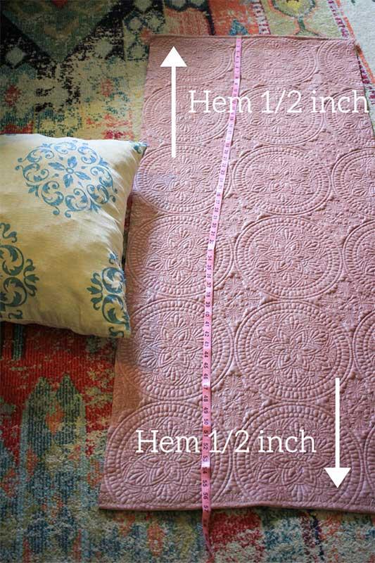 hem the edges of envelope pillow cover