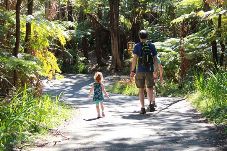 grandfather and grand daughter walking a trail at Hawaii Volcanoes national park