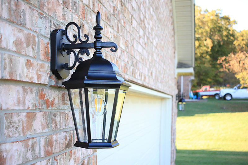 spray painted garage light with clean glass