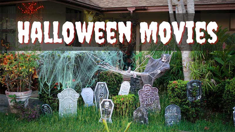Front yard decorated as a graveyard for Halloween