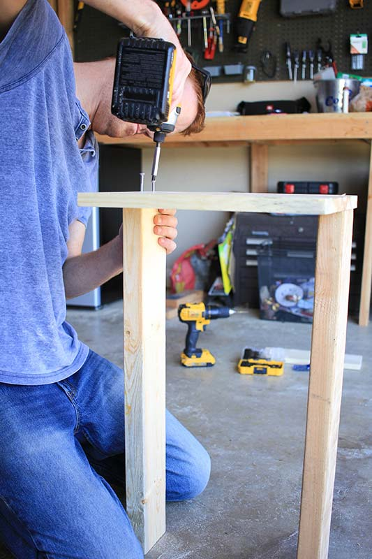 Attaching 2x4 supports to 10x14 base.