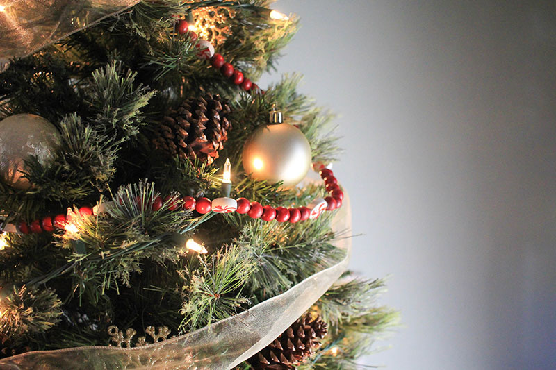 Pine cones on a fake Christmas tree