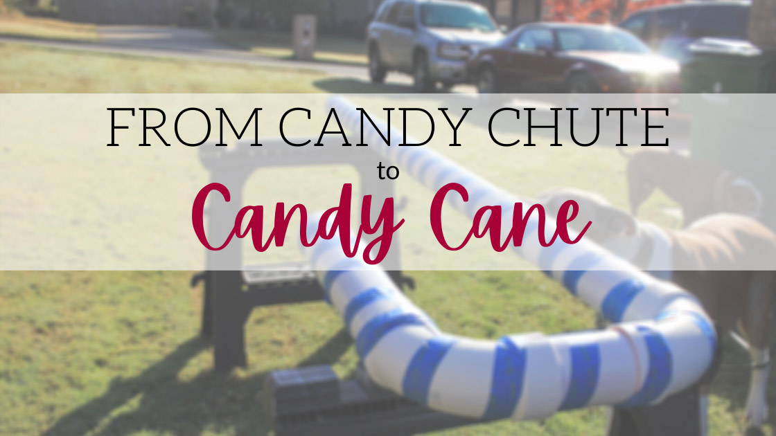 repurposed candy chute to candy cane