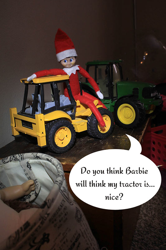 elf in a tractor