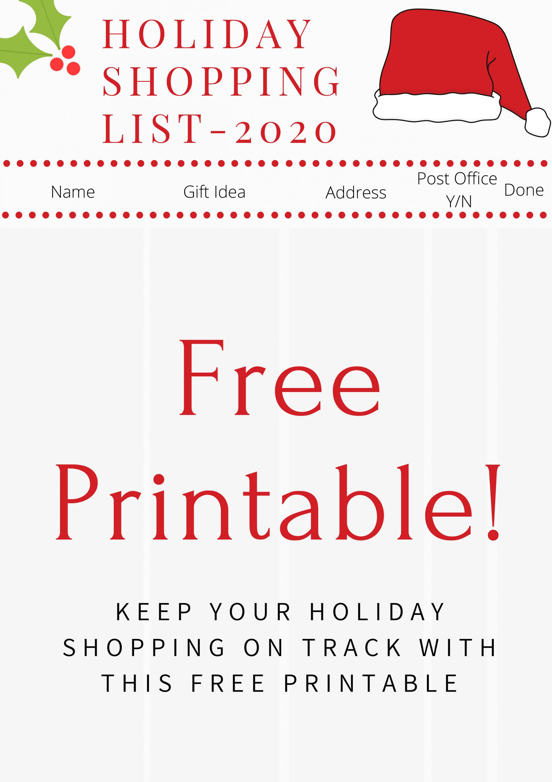 Holiday Shopping List Free Printable 2020