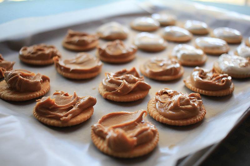 Peanut butter on a Ritz cracker