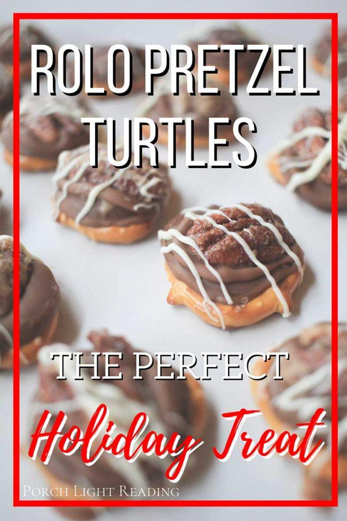 Homemade Rolo pretzel turtles with pecans