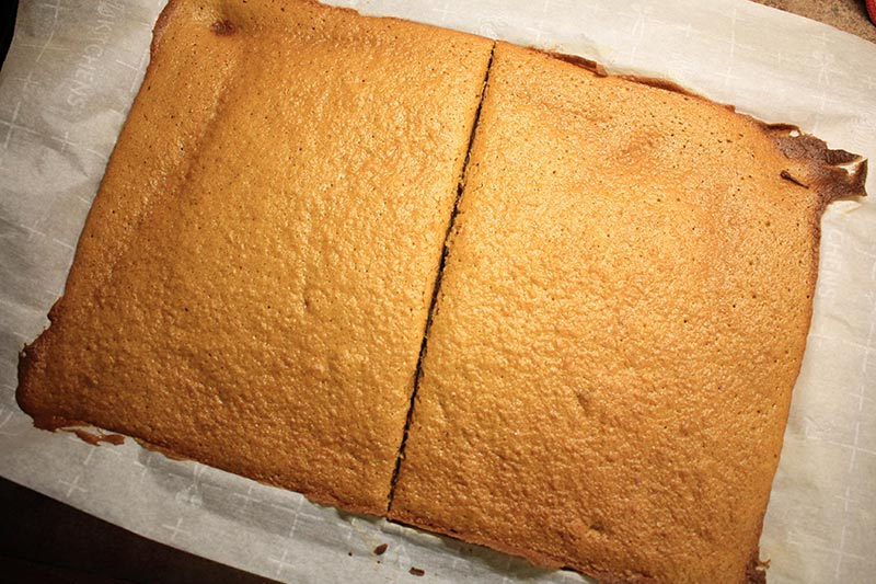 baked pumpkin roll cut in half before rolling.