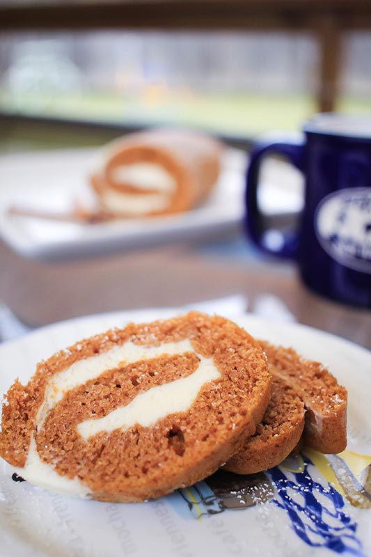 Completed pumpkin roll with two slices on a white and blue plate