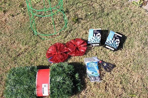 tomato cage christmas tree supplies