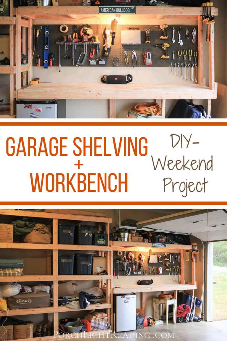 garage shelving and workbench