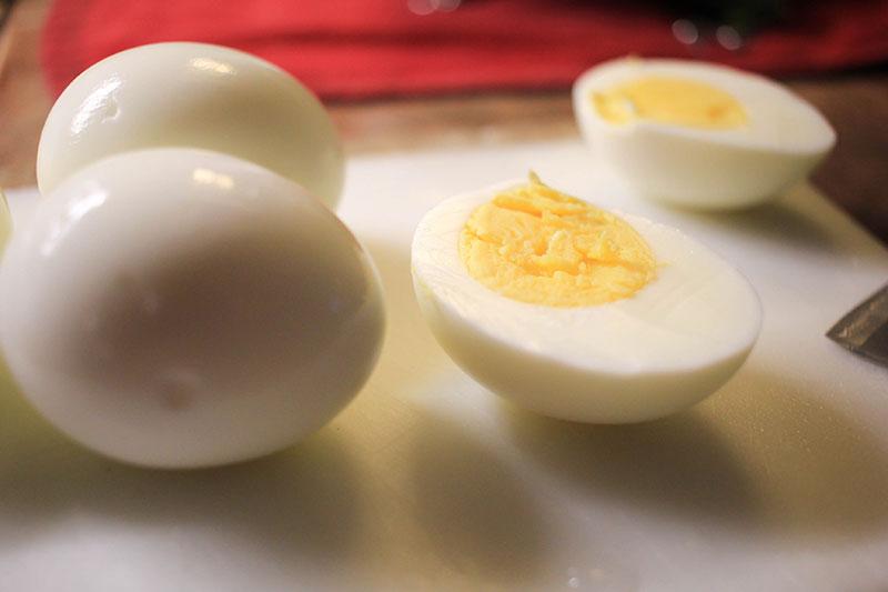 hard boiled egg sliced in half length wise