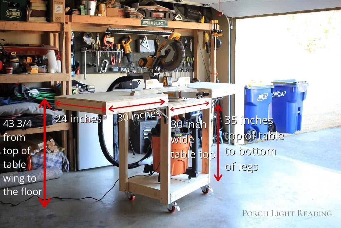 Miter saw table DIY measurements