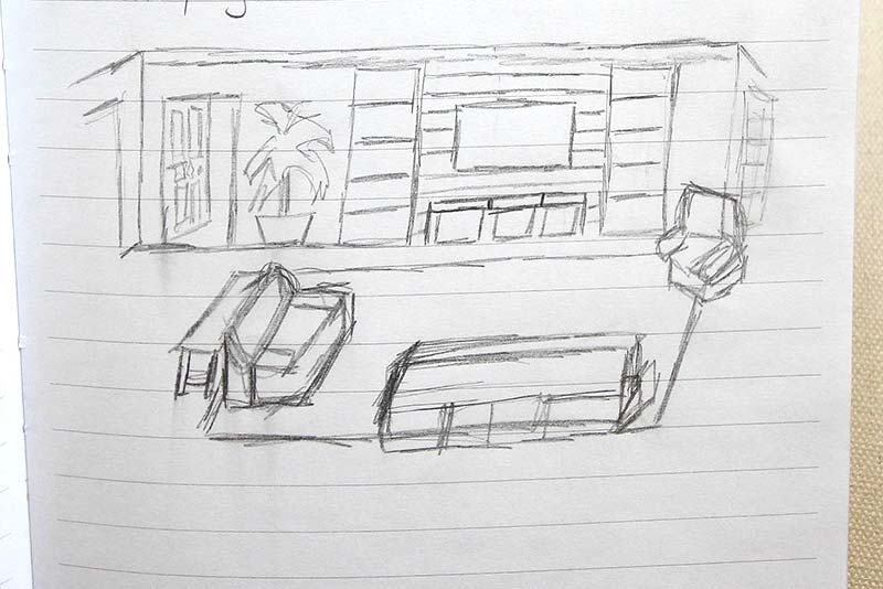 Drawing of shiplap and living room area