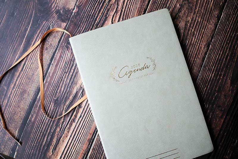 agenda on wood table
