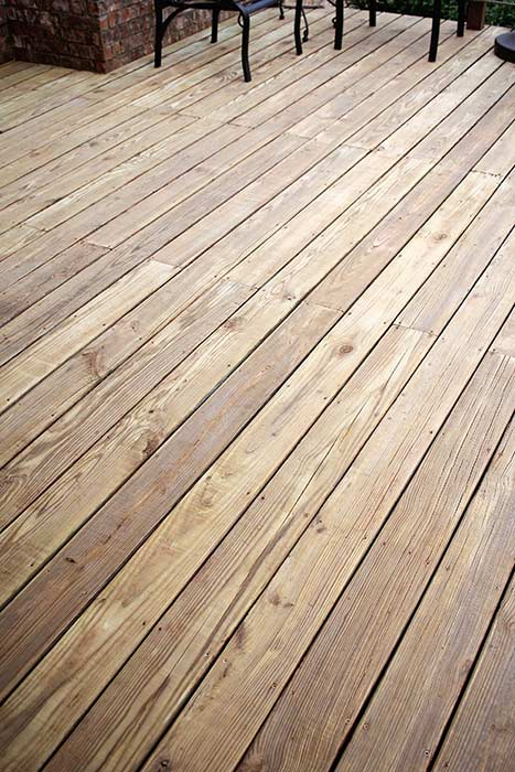 Sanded deck before applying stain