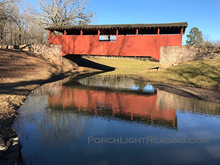 Red Covered bridge at Burns Park