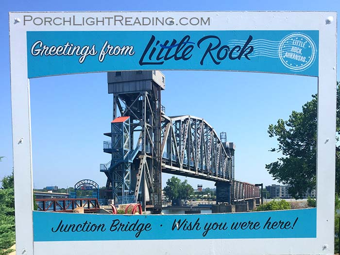 Post card sign at Junction Bridge Little Rock