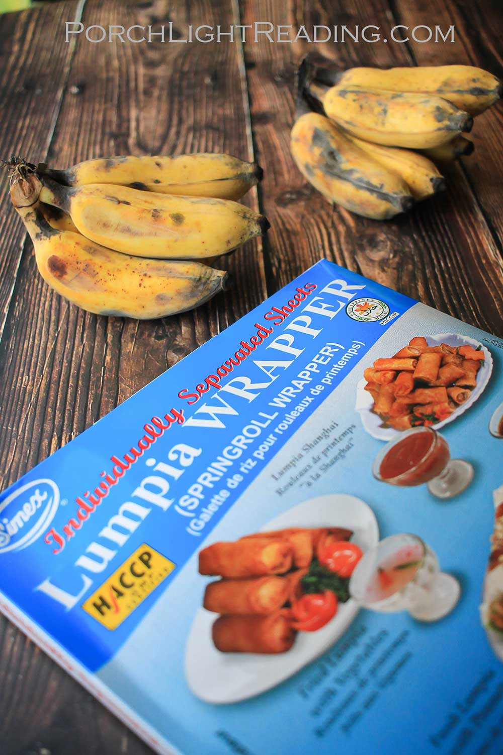 Lumpia wrappers and apple bananas