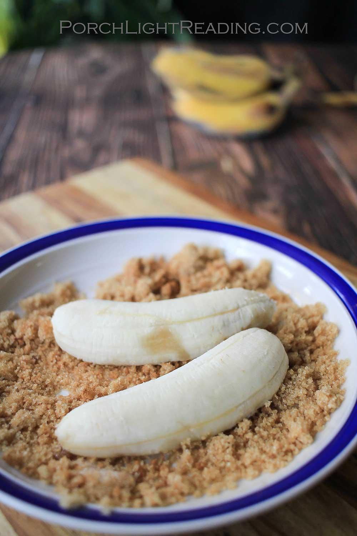 apple bananas coated with brown sugar and cinnamon