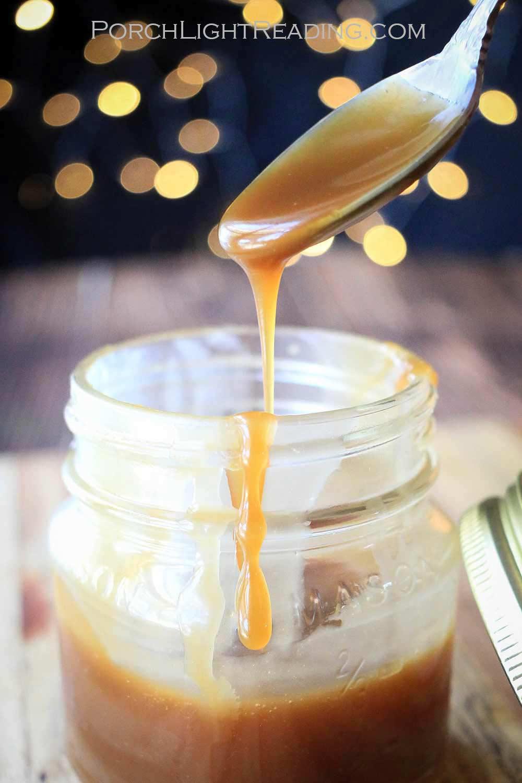 Homemade caramel in a mason jar